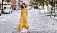 Taylor Hill wears Thakoon ruffle silk crepe de chine dress