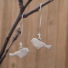 Silver Bird Earrings // Etsy