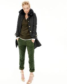 OCT 15 Style Guide: J.Crew women's military coat with faux-fur collar, Collection cashmere V-neck sweater, perfect-fit long-sleeve V-neck T-shirt, Sunday slim chino and mirror metallic high-heel sandals. J Crew Outfits, Casual Outfits, Fall Winter Outfits, Autumn Winter Fashion, Winter Style, J Crew Style, My Style, Slim Chinos, What To Wear