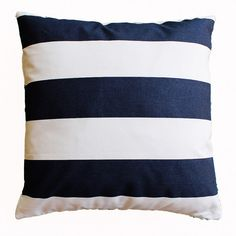 Navy blue and white striped pillow for living room, bedroom, nursery.