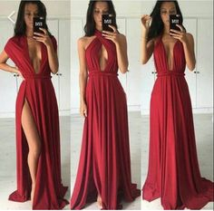 2017 Custom Charming Red Prom Dress,Simple Evening Dress,Sexy