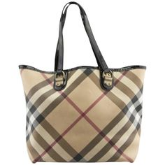 Pre-owned Burberry Nova Check Canvas Tote Bag ($399) ❤ liked on Polyvore featuring bags, handbags, tote bags, none, canvas tote purse, burberry tote, brown handbags, burberry purses and brown tote purse