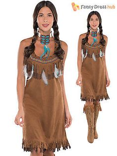 287c0ca2c13 Ladies Red Indian Costume Adults Pocahontas Native American Fancy Dress  Western