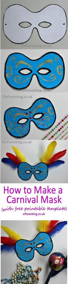 Easy instructions how to make a DIY carnival mask for kids. Perfect for Mardi Gras, Carnival, Halloween, Karneval or Fastnacht. It even includes free printable mask template.