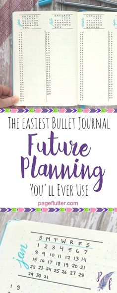 Page Flutter's simple column method for bullet journal future planning.