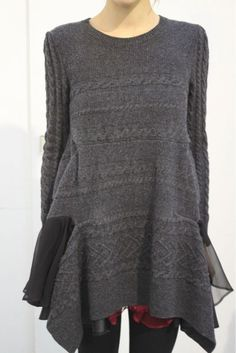 Garment Design Inspiration - Sacai, different textures...woven with knit
