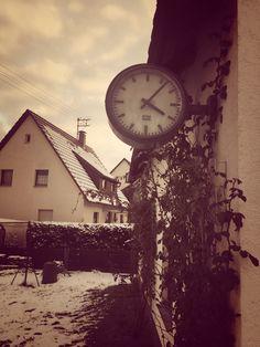 old railway clock, garage, winter, retro, vintage