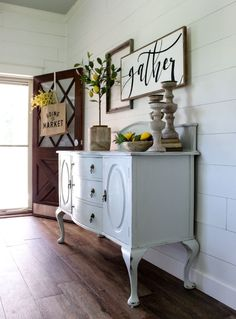 CottonStem.com farmhouse decor entry way vintage buffet lemon tree