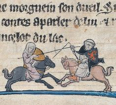 A woman jousting with a friar, Le livre de Lancelot, France ca. 1275-1300 (Beinecke, MS 229, fol. 100v