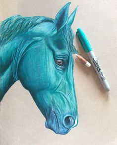 Sacha Phariss Horses - Art Page Liked · May 22 · Blue horse I draw with 2 sharpies and 2 colors pencils. I love it when my pencils are this size because it means it's been used on a lot of beautiful art!