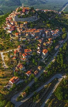 The Medieval Town of Motovun-Montona, Croatia. Motovun is a medieval town that grew up on the site of an ancient city called Kastelijer. It is situated on a hill 886 feet above sea level with houses scattered all over the hill.