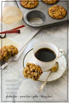 Pumpkin Coconut Chocolate Muffins -- #GlutenFree #DairyFree #Paleo