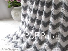 Crochet Baby Blanket PATTERN 55 - Chevron Series - Crochet Symbol PATTERN 55 - Instant Download PDF Pattern