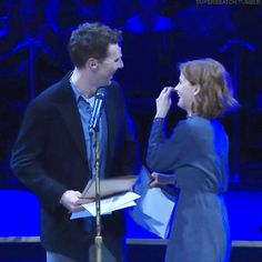 Benedict Cumberbatch and Louise Brealey at Letters Live 2015.
