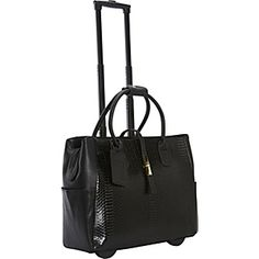 """This airplane carry-on size executive rollerbrief, a faux pebble leather beauty with a faux python front panel, is fitted for the working, traveling woman who appreciates the smart and unconventional, and features a retractable handle, two roller-blade wheels, padded compartments for a 15.4"""" laptop and an electronic tablet/reader and much more."""