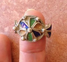 Berber Ring with Enamel,  2 cm  US size 10.5 cm, South Morocco