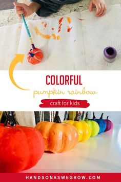 Toddlers and preschoolers will love creating rainbow painted pumpkins! This super simple fall paint activity is easy to set up and only takes a few supplies! Kids Fall Crafts, Autumn Activities For Kids, Halloween Crafts, Preschool Painting, Painting For Kids, Foam Pumpkins, Painted Pumpkins, Toddler Preschool, Toddler Activities