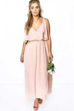boohoo Plus Elle Chiffon Double Layer Maxi Dress Blush Dresses, White Maxi Dresses, Bridesmaid Dresses, Bridesmaids, White Going Out Dresses, Plus Size Fashion Dresses, White Chiffon, Chiffon Maxi Dress, Get Dressed