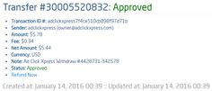 Here is my Withdrawal Proof from Ad Click Xpress. I get paid daily and I can withdraw daily. Online income is possible with ACX, who is definitely paying - no scam here.I WORK FROM HOME less than 10 minutes and I manage to cover my LOW SALARY INCOME. If you are a PASSIVE INCOME SEEKER, then Ad Click Xpress is the best ONLINE OPPORTUNITY for you!