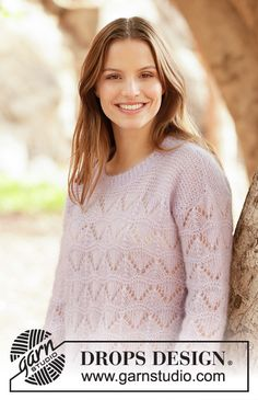 Knitted jumper in 2 strands DROPS Kid-Silk. Piece is knitted with lace pattern, garter stitch and double neck edge. Knitting Patterns Free, Free Knitting, Crochet Patterns, Drops Design, Drops Kid Silk, Beat Drop, Magazine Drops, Point Mousse, Drops Patterns