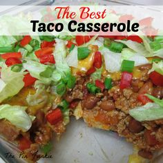 **Best Taco Casserole-- try fresh tomatoes instead of canned, green chilies too and top with lettuce, cheese and sour cream YUM