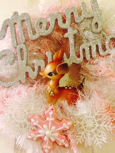 Large vintage deer kitsch Christmas wreath with by Thequirkygirls