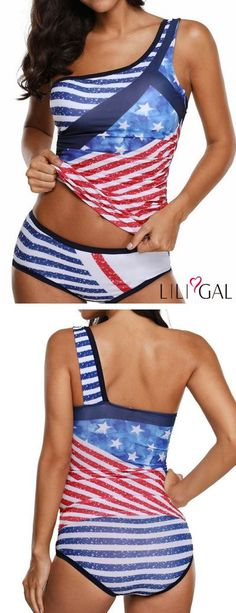 Star and Stripe Print One Shoulder Tankini Set 4th Of July Dresses, 4th Of July Outfits, 4th Of July Swimsuits, Plus Size Swimsuits, Hot Outfits, Outfits For Teens, Fashion Outfits, Suits For Women, Clothes For Women