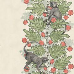 Papier peint Acacia rouge et vert sur fond beige de The Ardmore Collection de Cole and Son. Ce papier peint tropical et exotique donnera un aspect unique à votre intérieur.