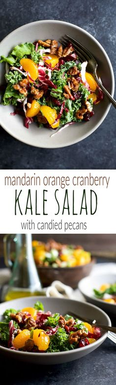 A simple KALE SALAD filled with mandarin oranges, tart cranberries and candied pecans for the perfect bite! I guarantee this salad will win over any kale hater and become a staple at your house!   joyfulhealthyeats.com #glutenfree