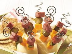 Instead of serving a cheese and sausage tray, make individual kabobs for a great grab-and-go appetizer.
