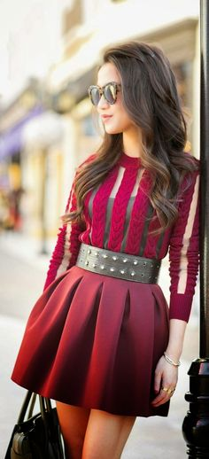 Luv to Look | Curating Fashion & Style: Street style studded belt and burgundy tulip skirt