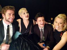 #EffieBarbie strikes again - photobombing the #HungerGames #CatchingFire cast!