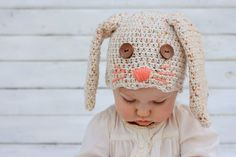 This free crochet bunny hat pattern makes a darling DIY Easter gift for your favorite baby or toddler. Sizes newborn, 3-6 months, 6-12 months, toddler/preschooler. Pair with our free crochet carrot baby toy pattern.Click for free pattern. | MakeAndDoCrew.com