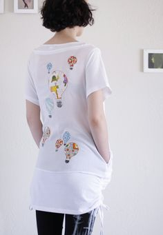 Over size T-shirt Dress . Applique Dress . Women dress unique - Hot aire balloon ride