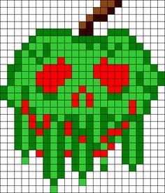 Poison Apple Perler Bead Pattern | Bead Sprites | Food Fuse Bead Patterns