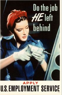 Vintage World War II poster at the Caen Peace Memorial Museum in Normandy, France. Vintage Advertisements, Vintage Ads, Vintage Posters, Retro Posters, Vintage Signs, Pin Up, Ww2 Women, Ww2 Propaganda Posters, Rosie The Riveter
