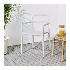 YPPERLIG Chair with armrests, in/outdoor, light grey