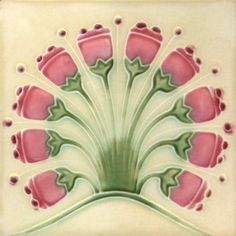 Vintage Art Nouveau Tile, cream background, pink flowers, with green stems.