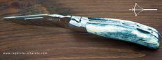Couteau Laguiole Grande Nature Os de girafe - lame inox 12C27 - mitres inox - mécanique à pompe