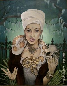 VooDoo Queen ORIGINAL Painting Acrylic 24x30x1 1/4 by Ghostfire68, $500.00