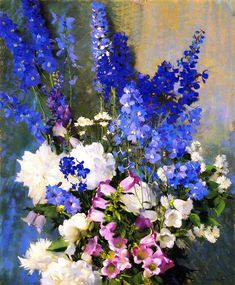 Larkspur, Peonies and Canterbury Bells  Laura Coombs Hills
