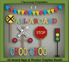 Clipart Templates for Scrapbooking.    All Aboard Signs & Wordart Clipart Template Bundle. For Digital Scrapbooking, Clipart, Creating Cards & Printables.    Comes PSD Format  For Use in Photoshop and Graphics Programs