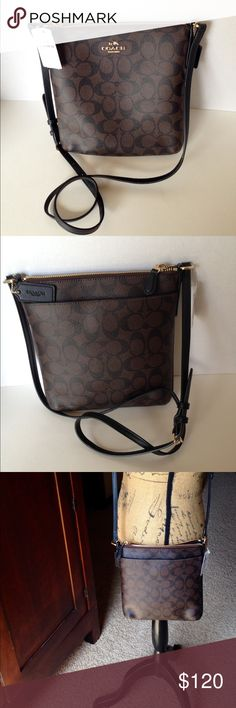 NWT Coach Signature Crossbody Handbag New with tags Coach signature N/S crossbody, brown/black. PVC coated canvas trimmed with black leather and gold hardware. Zip top closure; black twill lining interior and large slip pocket.  Outside has large back pocket. F35940 authenticity number. No Trades Coach Bags Crossbody Bags