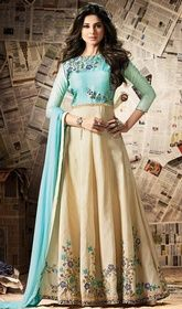 Cream and Blue Color Silk Long Anarkali Suit #anarkalidressesonlineshoppingindia #anarkalikurtisonlineshoppinglowprice Set a new standard in elegance with this cream and blue color silk long Anarkali suit. The attractive lace, stones and resham work a substantial attribute of this attire.  USD $ 134 (Around £ 92 & Euro 102)