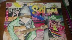 graffiti, art, guitar, colours