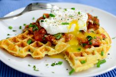 ... Cornmeal Waffles with Eggs and Salsa | Recipe | Waffles, Salsa and