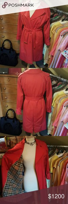 Vintage Burberry Trench Red Vintage Burberry Trench. Zip out linning. Has small hole on zip out  lining by armhole. Otherwise overall, excellent condition. Fits like a small. Burberry Jackets & Coats Trench Coats