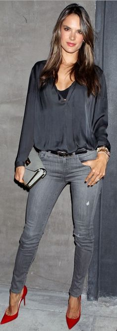 Who made Alessandra Ambrosio's gray skinny jeans and red pumps that she wore in Los Angeles?