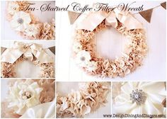 Easy Homemade Shabby Chic Wreath Ideas and Decor | Tea-Stained Coffee Filter Wreath by DIY Ready at http://diyready.com/diy-shabby-chic-decor/