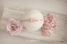Newborn Headband. Photography Props. Newborn Props. Baby Headband. Jersey Headband. Ivory Pink Headband. Visit www.princessandthepeaprops.com.au for more!